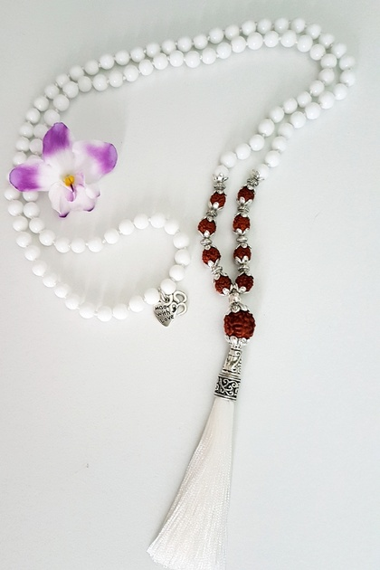 White Alabaster and rudraksha 108 bead hand knotted mala - bracelet or necklace with long tassel