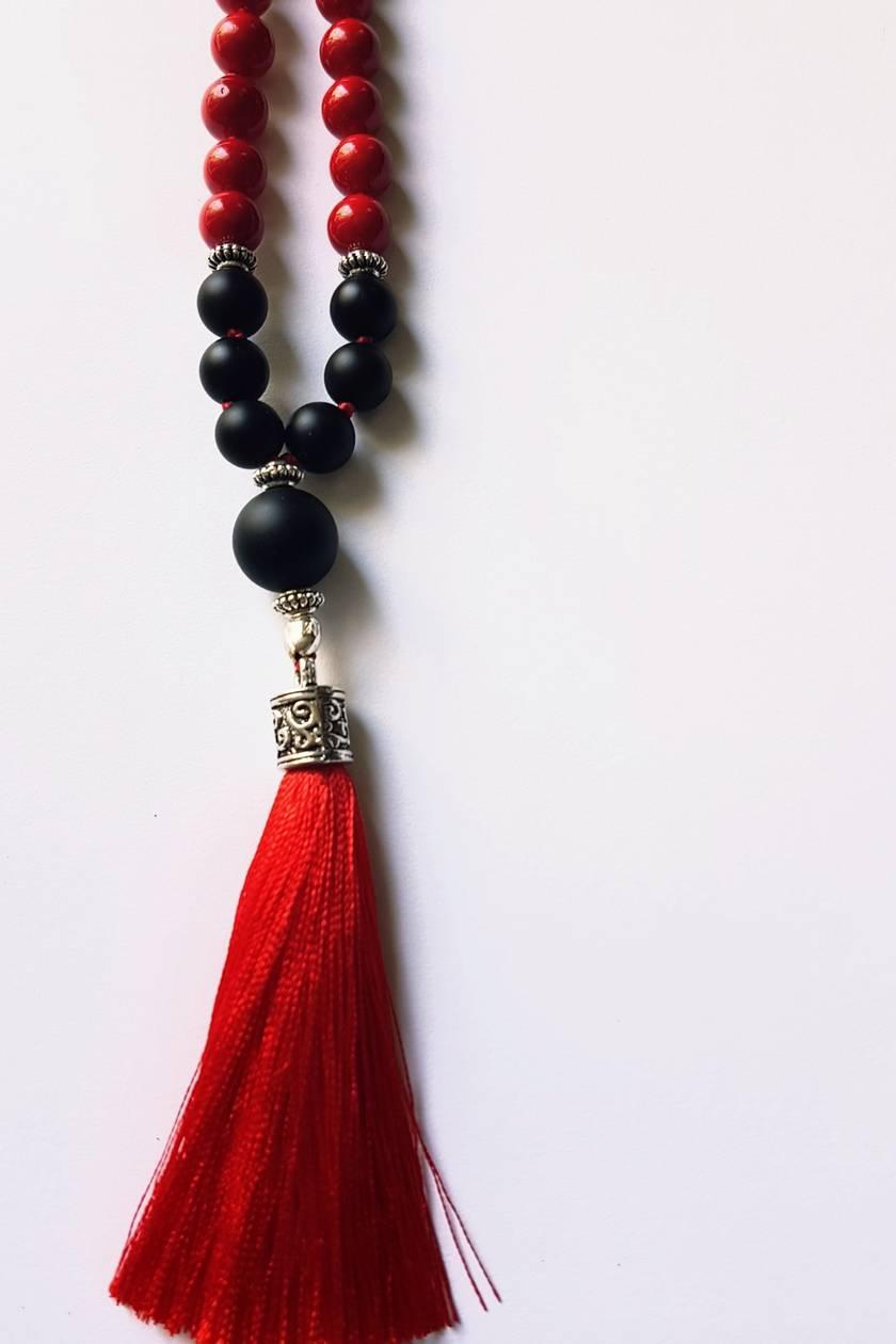 Matt obsidian and red coral 108 bead mala.