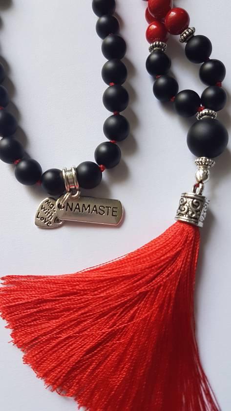 Matt obsidian and red coral 108 bead mala.