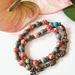 Blue and red sea sediment jasper 27 bead mala bracelet