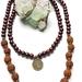 Wood and rudraksha 108 bead mala with smokey quartz - bracelet or necklace