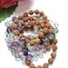 Fluorite and Rudraksha 108 hand knotted mala with Buddha head guru bead.