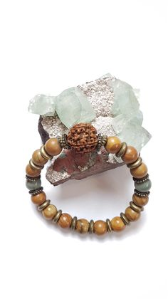 Mens bracelet - Wood Grain jasper with Picasso jasper and Rudraksha seed