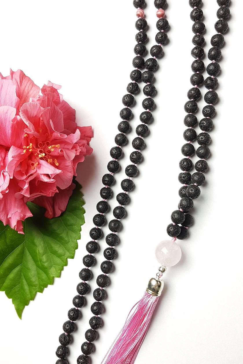 Unconditional Love and Courage - 108 hand knotted mala with rose quartz and tassel