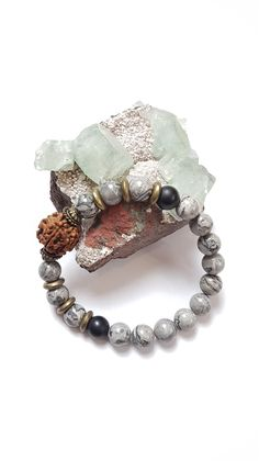 Mens bracelet - Grey picture jasper with obsidian and Rudraksha seed
