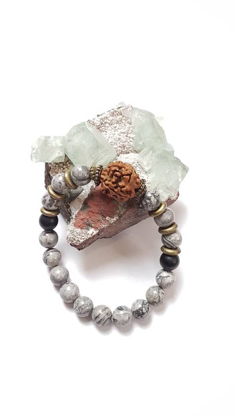 Unisex chunky bracelet - Grey picture jasper with obsidian and Rudraksha seed