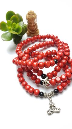 Yogini - Rustic Red wooden 108 bead mala - bracelet or necklace
