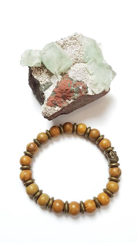 Unisex chunky bracelet - Wood Grain jasper
