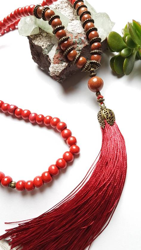 SALE - Rustic Red wooden 108 bead mala with sparkling goldstone - necklace