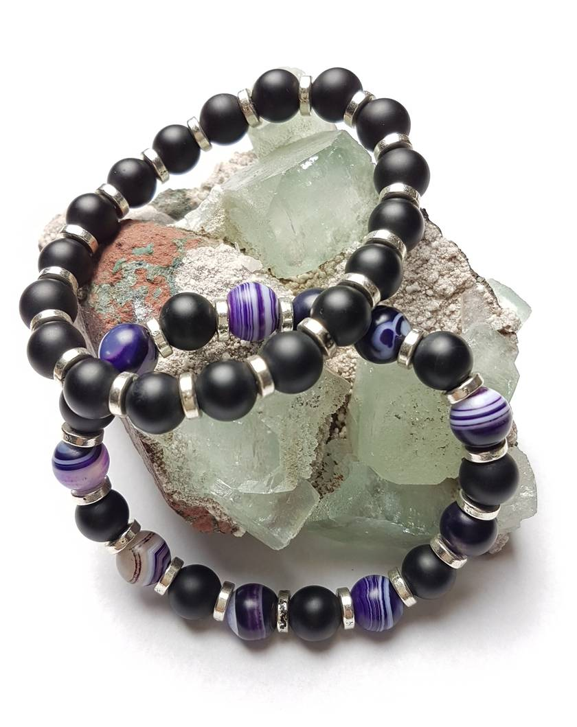 Balance and Protection - 2 bracelets purple agate and matt onxy