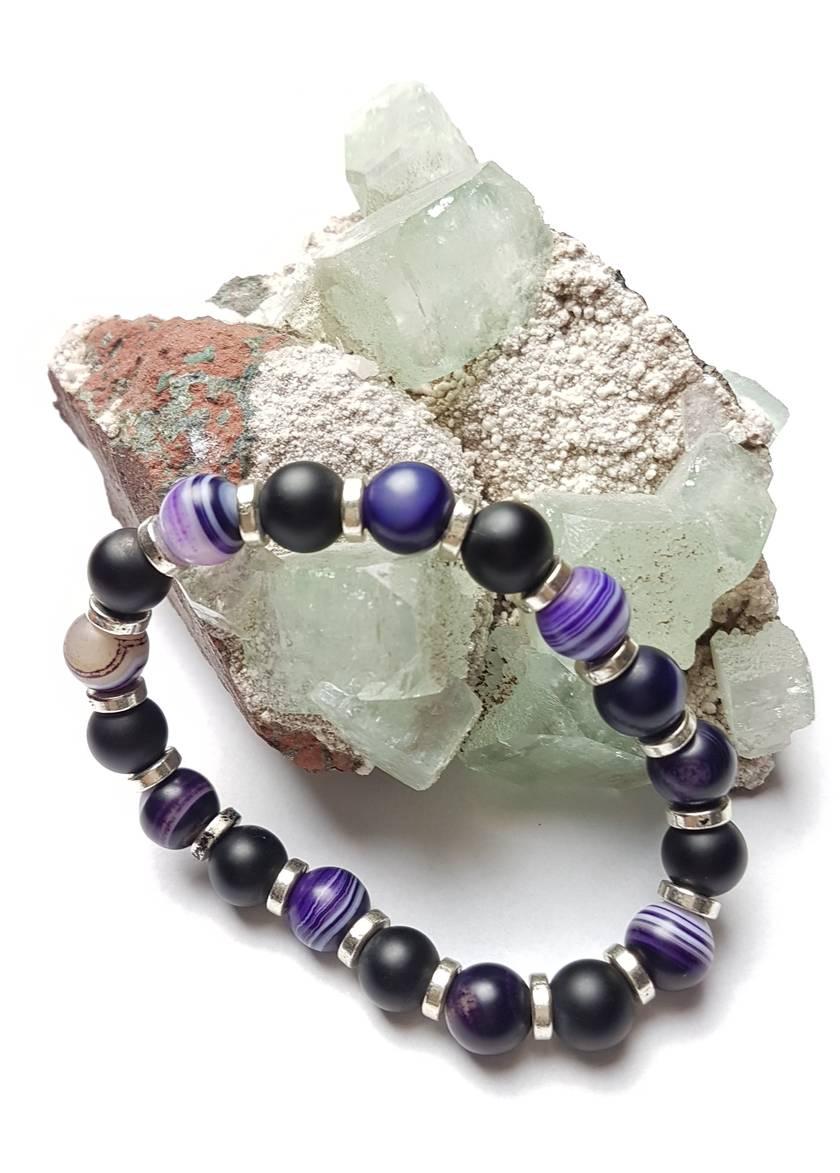 Balance and Protection - 2 bracelets purple agate and matt onxy