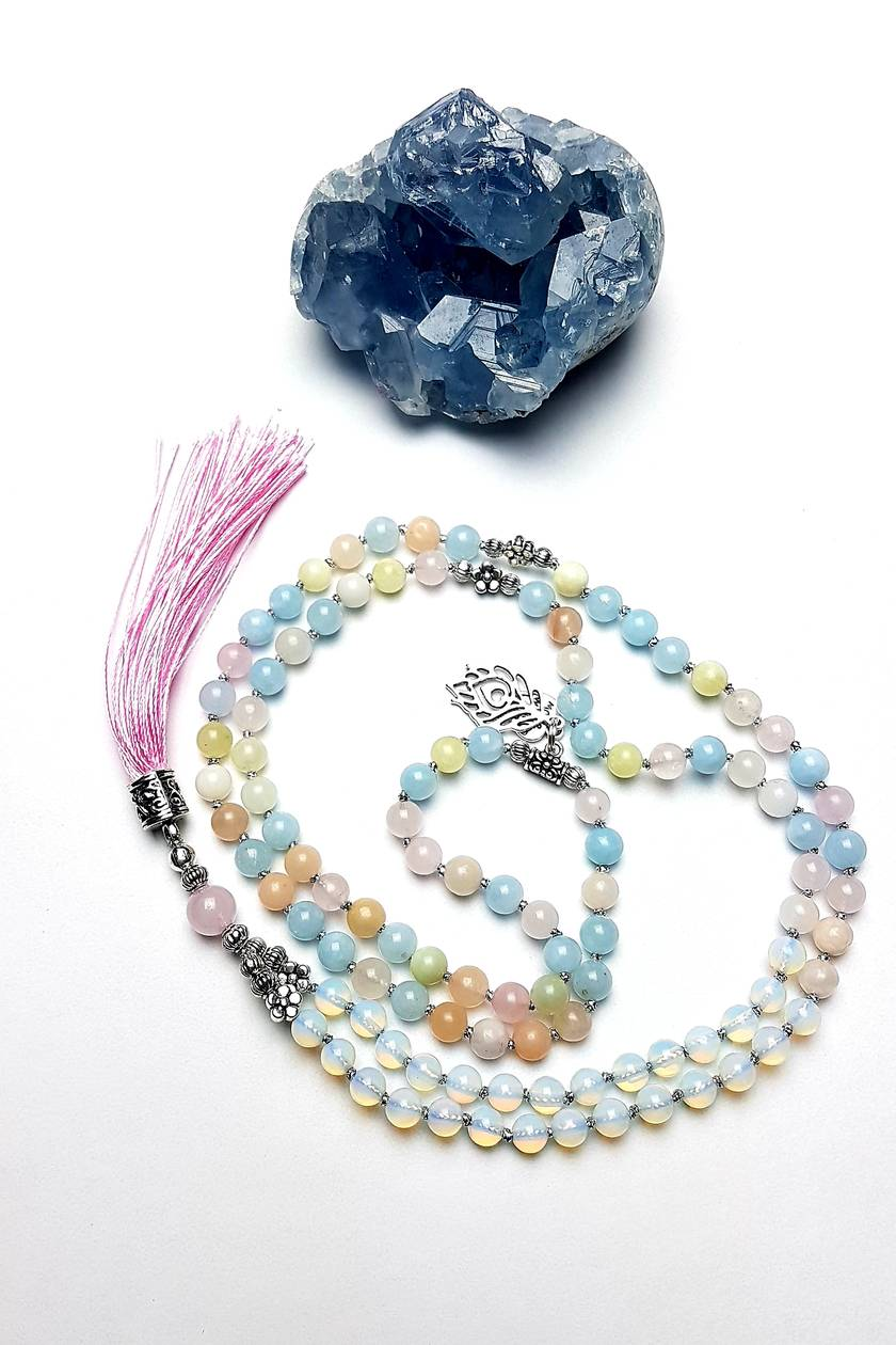 Love and communication- Morganite and Opalite 108 bead hand knotted mala