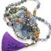 Personal Power - Fluorite, Pyrite, and Rudraksha 108 hand knotted mala.