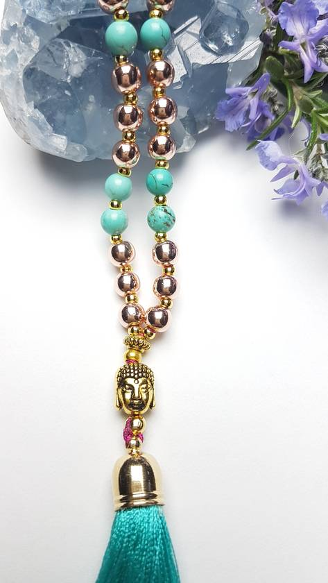 Transformation -108 bead hand knotted mala with long tassel