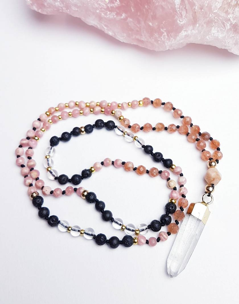 SALE Personal power and radical self love- 108 hand knotted mini mala with quartz pendant