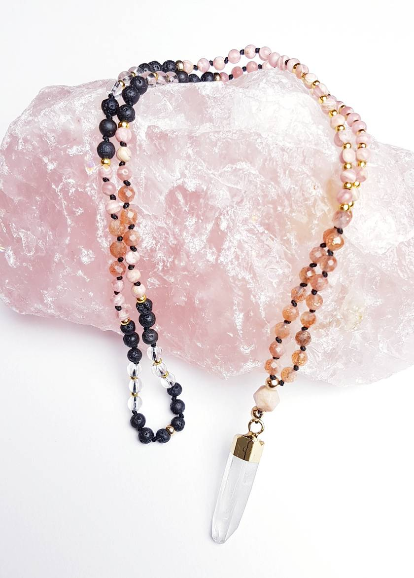 Personal power and radical self love- 108 hand knotted mini mala with quartz pendant