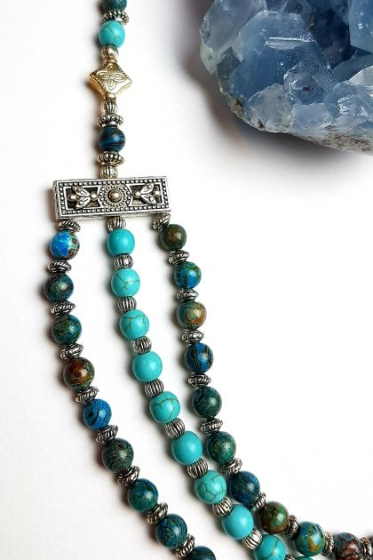 Wisdom and Peace - Jasper and Howlite Necklace