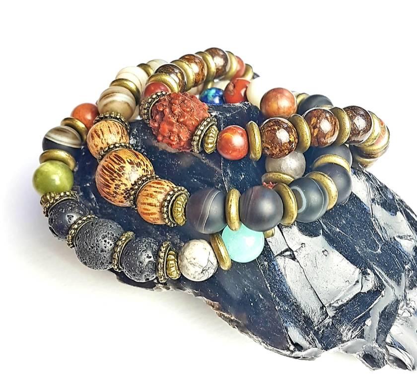 Grounding, travel, adventure, abundance - Unisex chunky bracelet