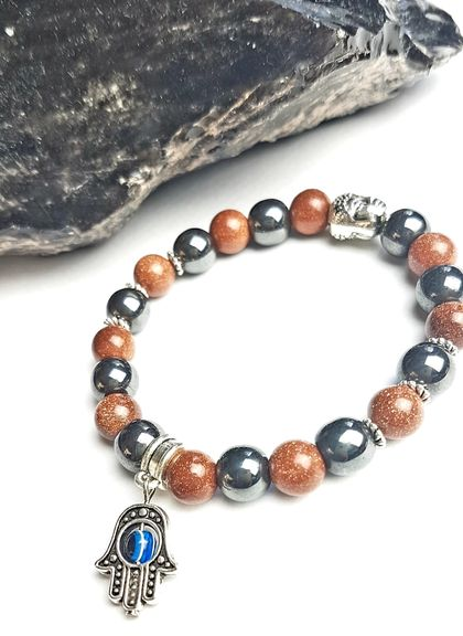 Time to Shine hematite and goldstone bracelet.