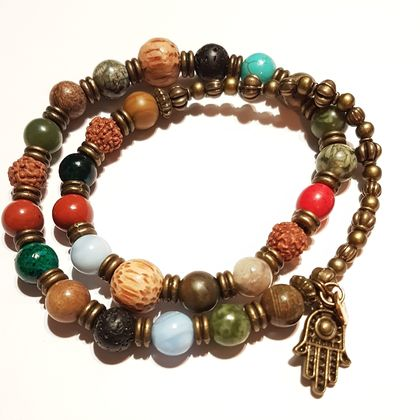Abundant Joy and Wellbeing - Mix gemstones 27 bead mala bracelet - made to order.