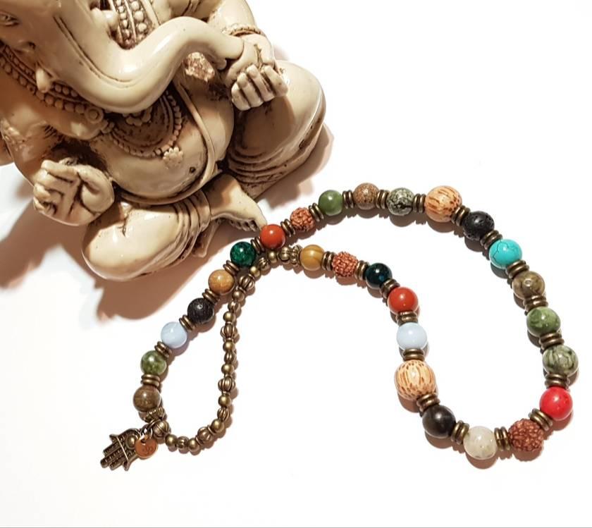 Abundant Joy and Wellbeing - Mix gemstones 27 bead mala bracelet - made to order.