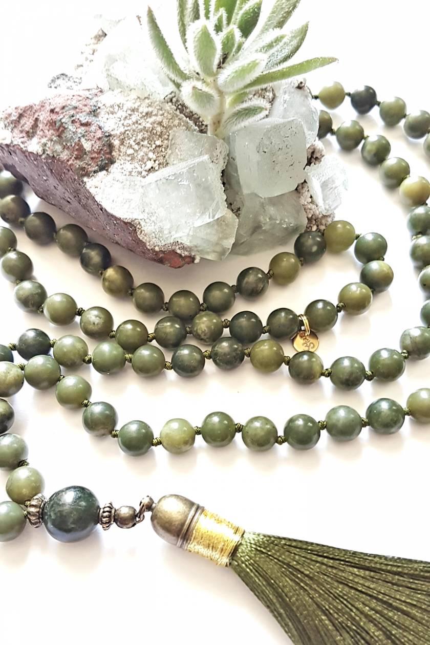 """I am Eternally Abundant"" - 108 bead nephrite jade (greenstone) hand knotted mala"