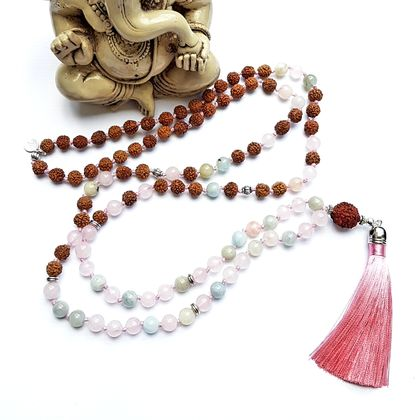 Calling in my Soul Mate - Morganite and Rudraksha 108 hand knotted mala.
