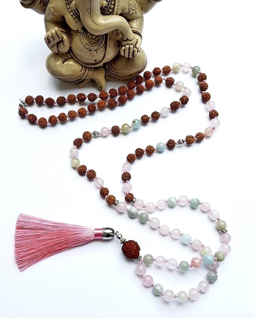 Calling in my Soul Mate - Morganite and Rudraksha 108 hand knotted mala.