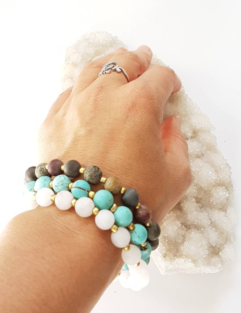 Denise - peace, love and fun - stretch faux mala bracelet - made to order.