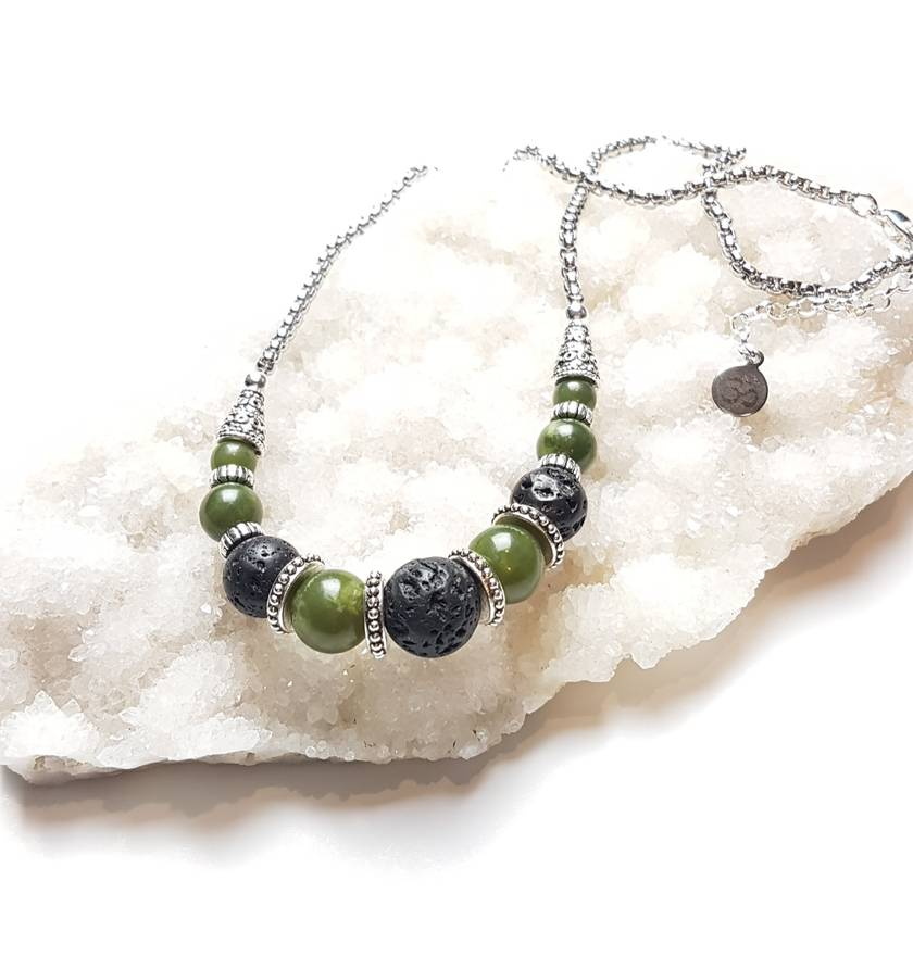 Health Balance Strength - greenstone and basalt diffuser necklace.