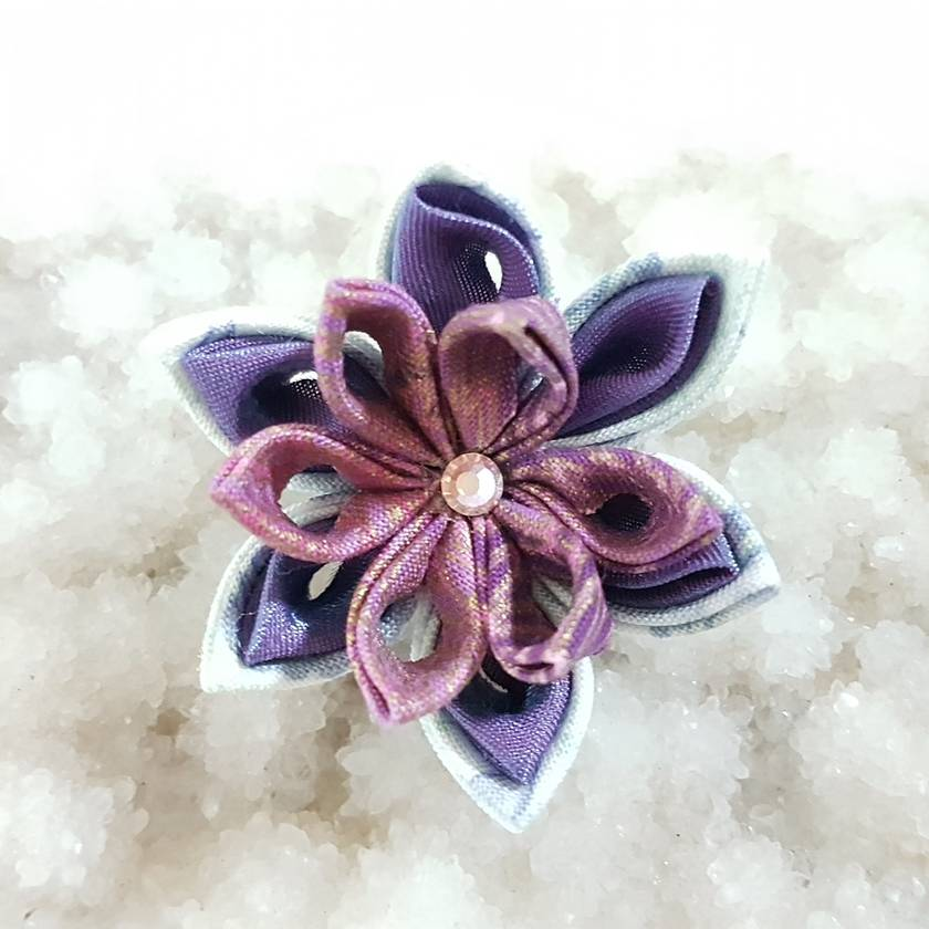 Tsumami flower brooch - Pink and Purple flower with swarovski crystals