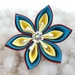 Tsumami flower brooch - Sunshine flower with swarovski crystals