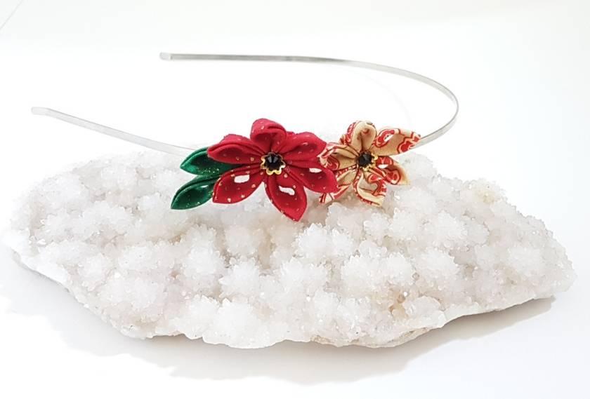 Hana Tsumami Kanzashi Flower headband - Double stars