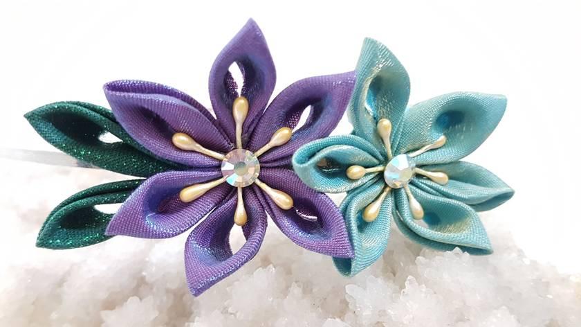 Hana Tsumami Kanzashi Flower headband - purple and blue flowers