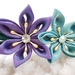 Hana Tsumami Kanzashi Flower headband - purple and blue flowers