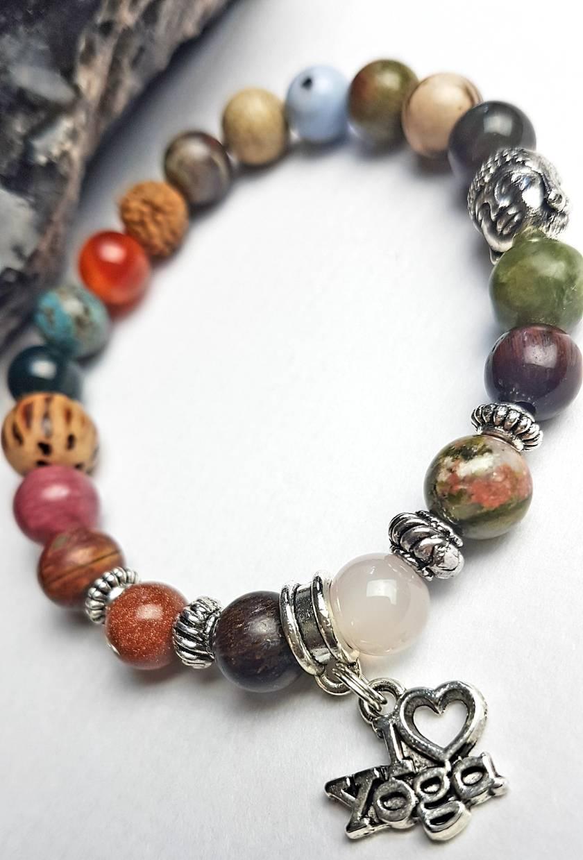 I love Yoga - semi-precious stone bracelet.