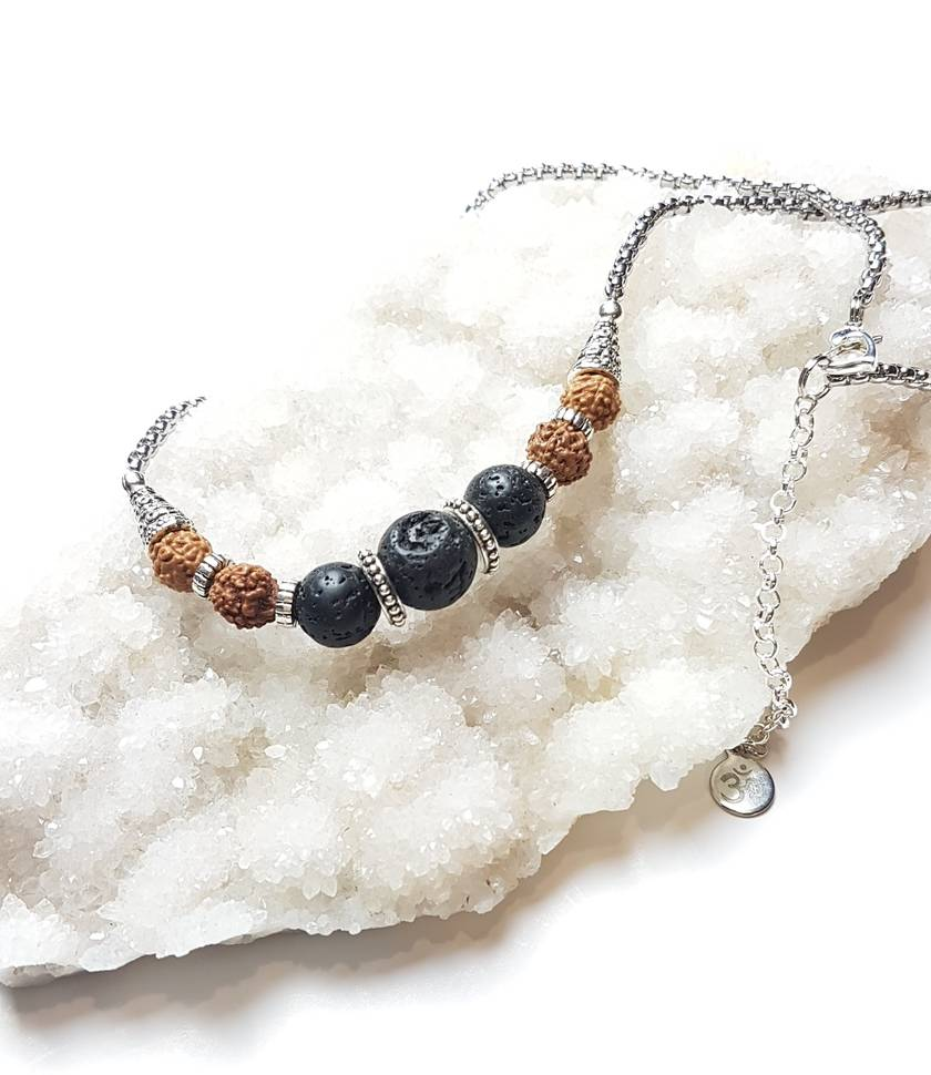 Grounded in Success - Rudraksha and Basalt diffuser necklace.