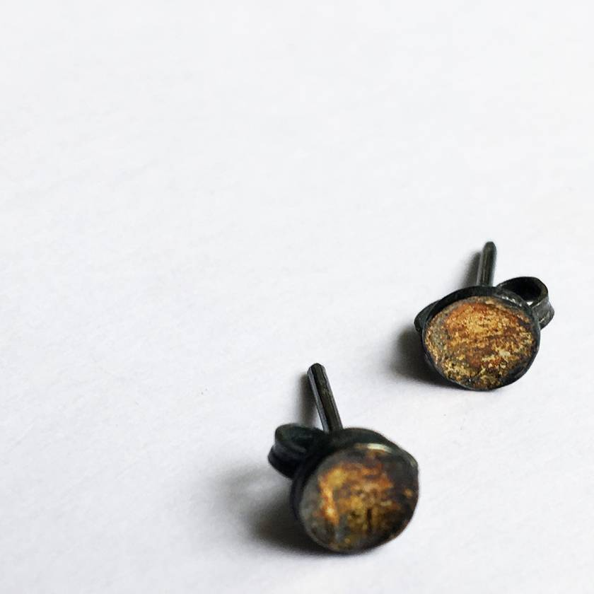 Silver and Gold Concave Dot Stud Earrings