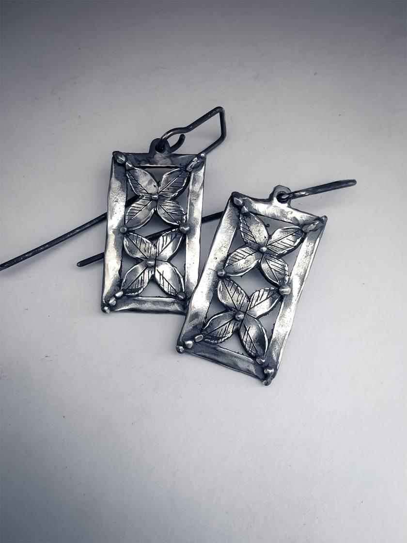 Double Flower Panel Earrings – Sterling Silver
