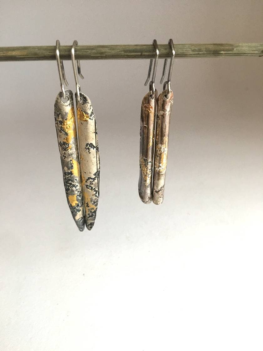 """Wrapped"" Cylindrical Pendant Earrings in Sterling Silver and 24ct Gold"