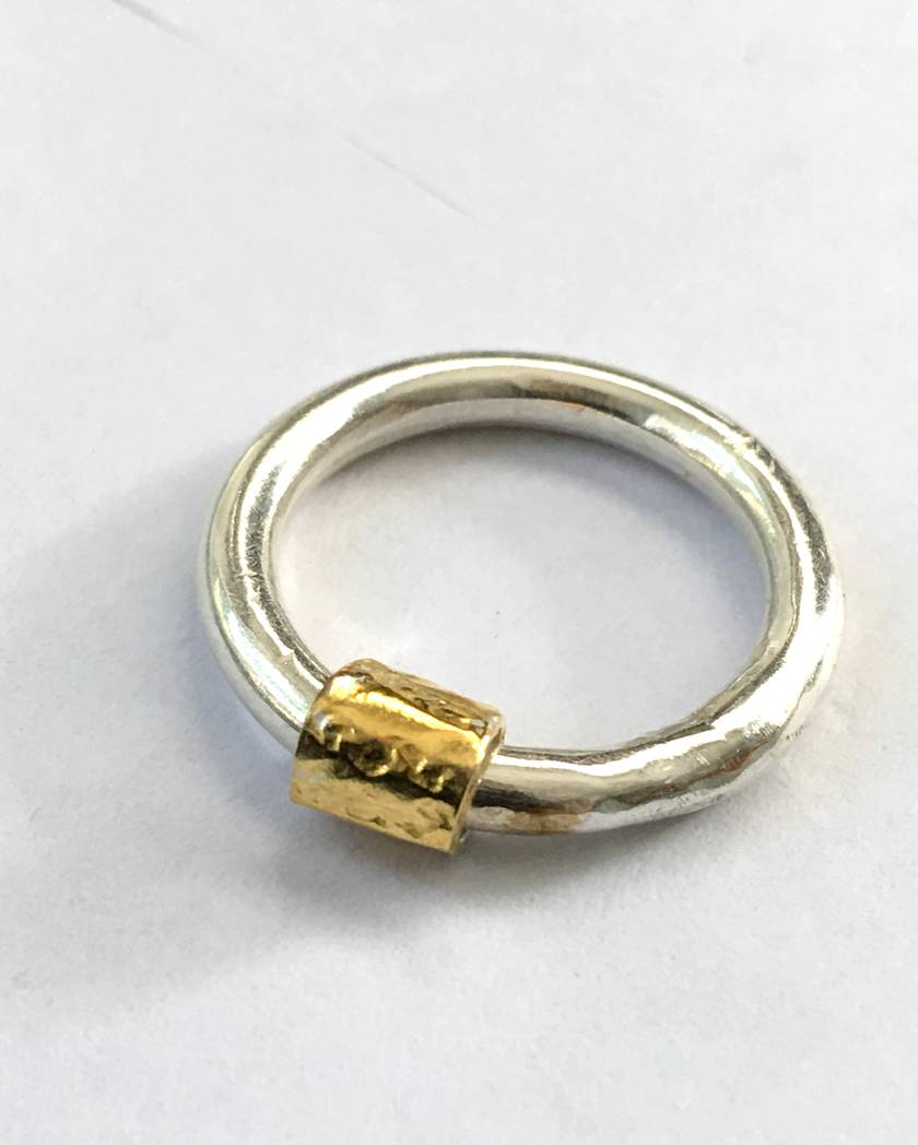"""""""Wrapped"""" Ring in Sterling Silver and 24ct Gold"""