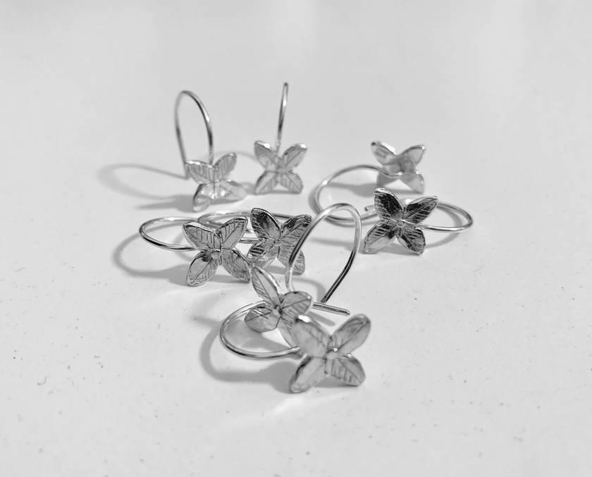 Dainty Flower Small Hoop Earrings - Sterling Silver