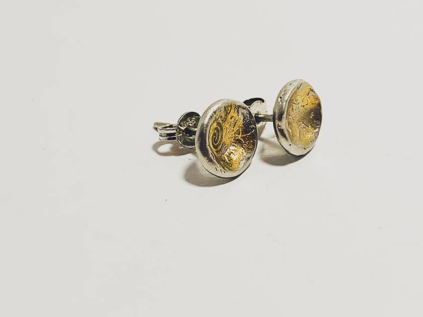 Silver and Gold Concave Textured Studs
