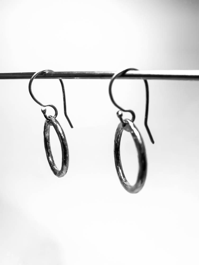 Silver Organic Circle Hoop Earrings
