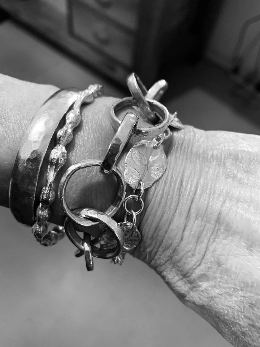 Hand forged Solid Sterling Silver Bangle