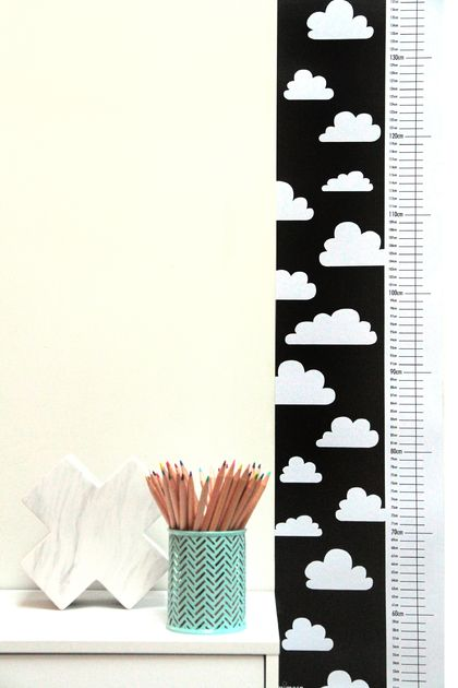Monochrome Cloud Height Chart - Printed on canvas textile
