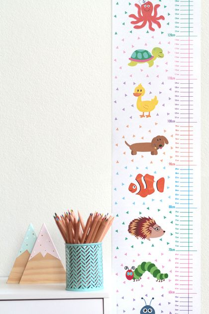 Colourful Animal Height Chart - Printed on canvas textile
