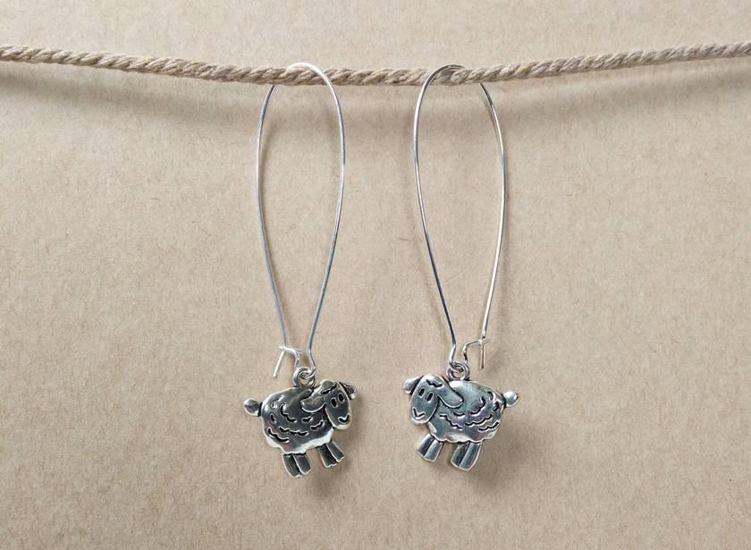 Funky retro sheep silver earrings
