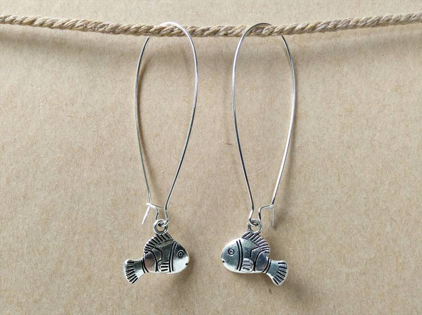 Just keep swimming...Just keep swimming... fish silver earrings