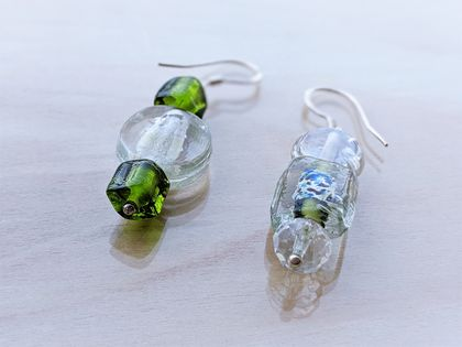 Odd Pair Glass and Crystal Earrings